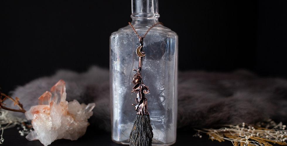 Black Kyanite Broomstick Necklace