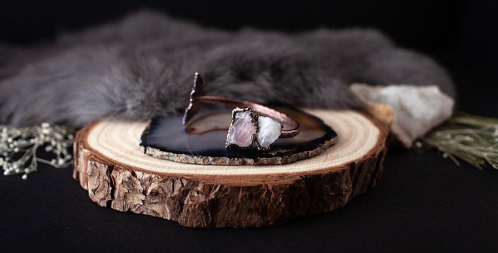Rose Quartz Leaf Bracelet / Small