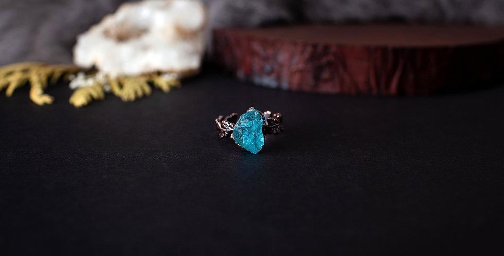 Blue Apatite Leaf Ring - Size 7 1/4