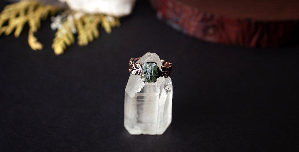 Raw Green Tourmaline Ring - Size 5 3/4