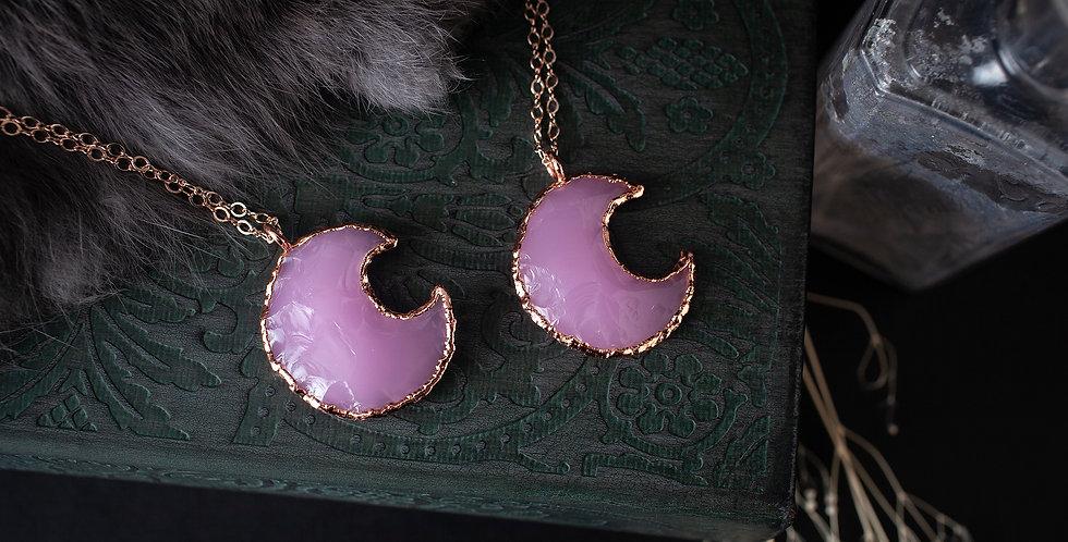 Rose Quartz Moon Pendant