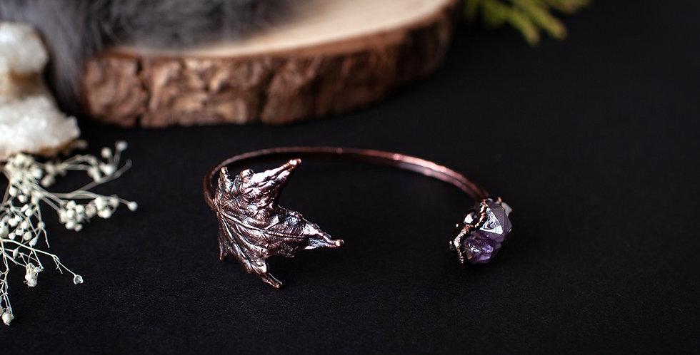 Amethyst Leaf Bracelet / Medium