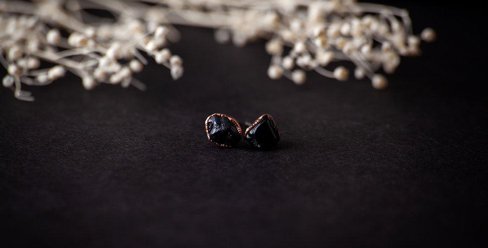 Black Tourmaline Stud Earrings