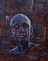 Portait jeune africain sur fond en relief