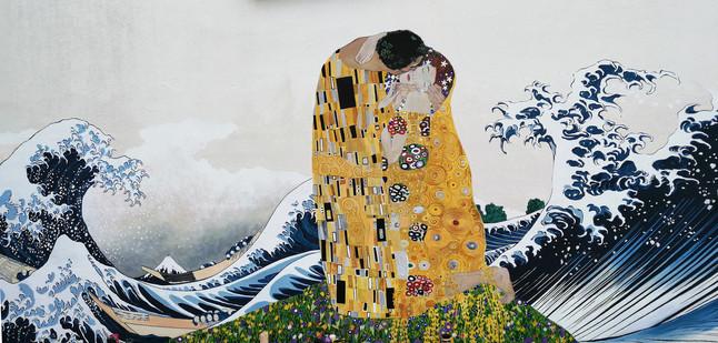 Calme au mileu de la tempête d'après Klimt et Hokusai