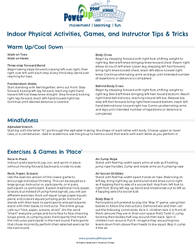 Indoor Activities Resource Sheet