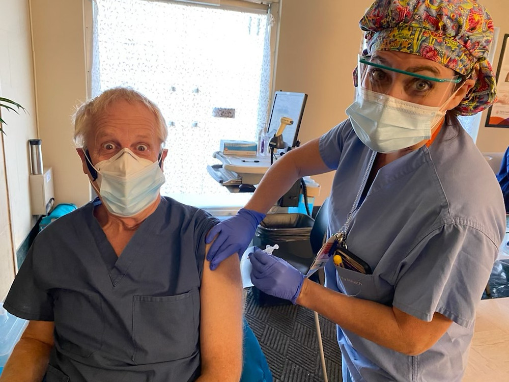 Dr. David Wood receives second dosage of COVID-19 Vaccination.
