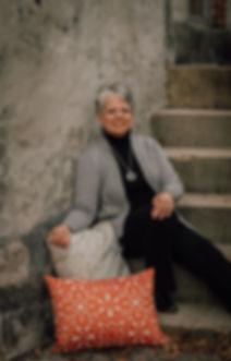 Jodi with custom pillows