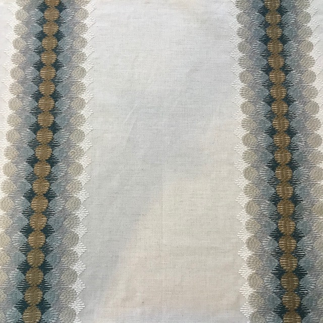 Linen with embroidered stripes