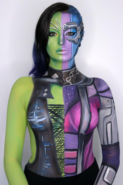 Gamora and Nebula Half and Half Paint