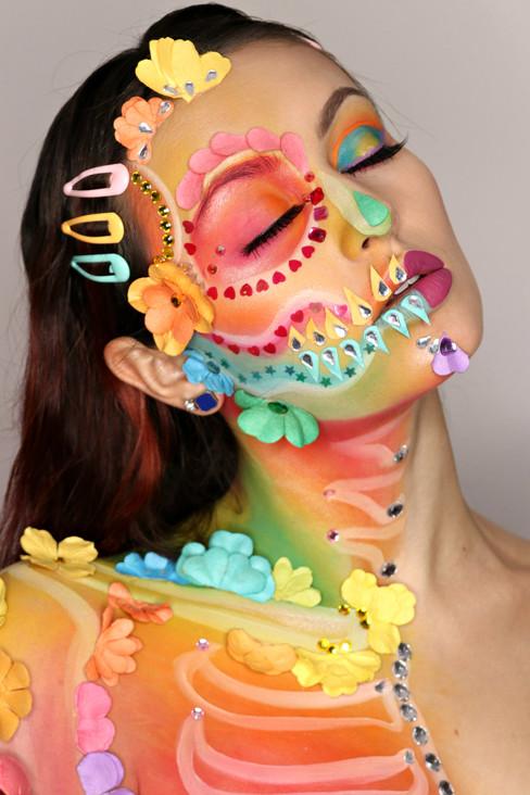 Floral Skeleton Makeup