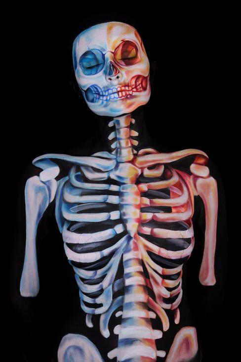 Skeleton Illusion Body Paint