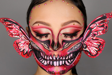 Red Butterfly Skull Inspired by Wigs and Makeup Manager