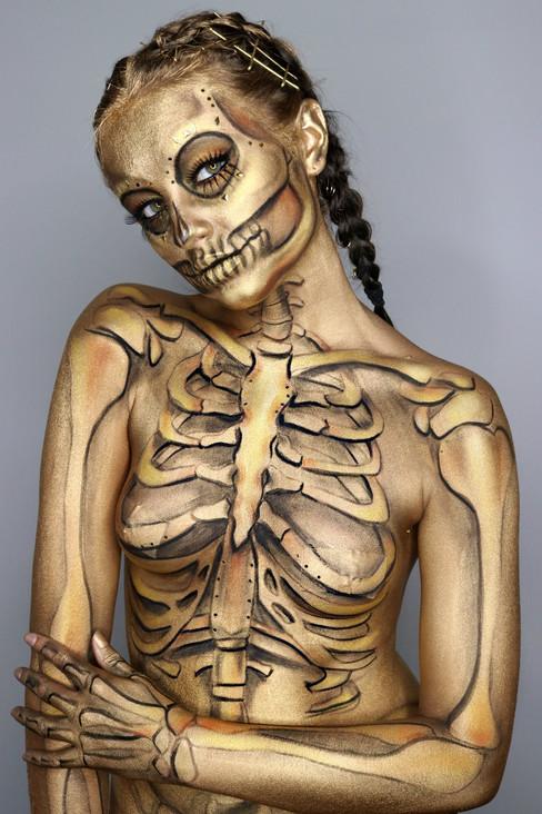Gold Skeleton Halloween Makeup