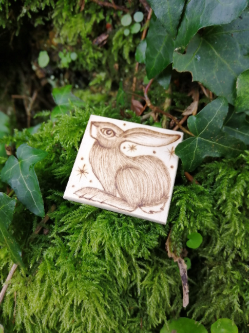 Hare brooch pin hand burnt pyrography