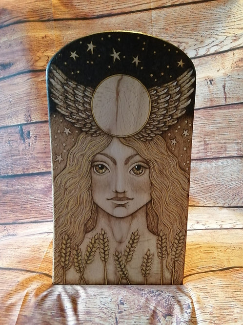 The Sun Goddess with Wings and Wheat Wood Burning Pyrography