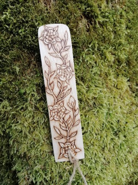 Wooden Rose Bookmark with Foliage Pyrography Woodburning