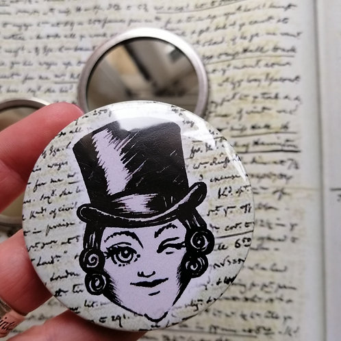 Winking Anne Lister Pocket Mirror