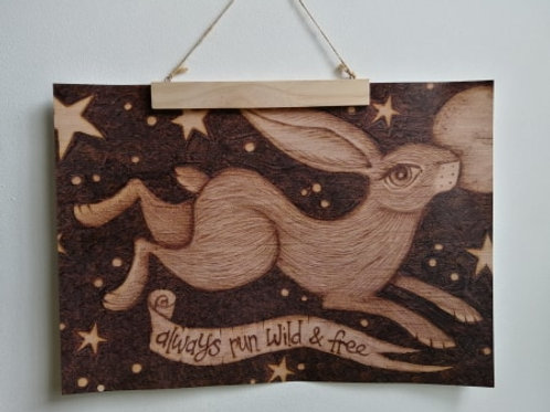 A3 Size Full Edge Print Always Run Wild and Free Hare