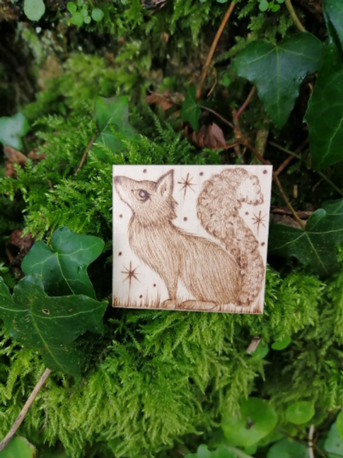 Fox brooch pin hand burnt pyrography