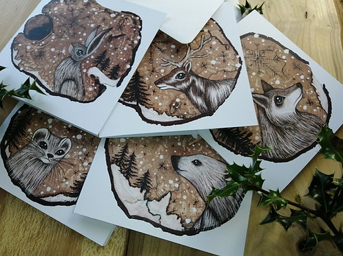 Snow Animals Christmas Cards/ Yule Cards Featuring Hare, Ermine , Reindeer, Pola
