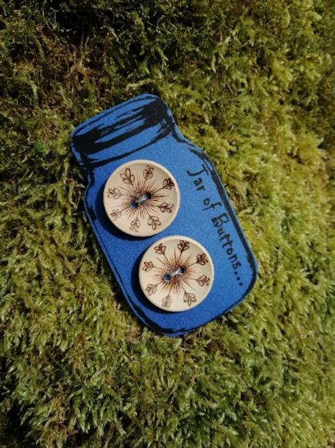 2 Wooden Starburst Fern Buttons..