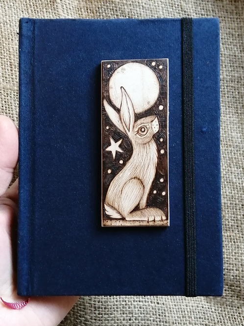 Moon gazing hare blue hard back journal with original pyrography/wood burning