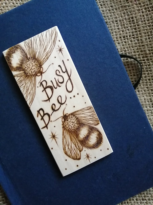 busy bee blue hard back journal with original pyrography/wood burning