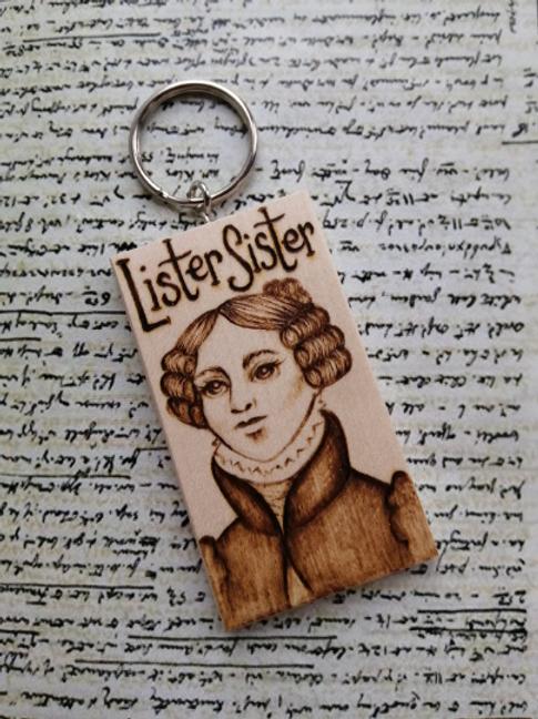 Lister Sister ... Handburnt Keyring Gentleman Jack Anne Lister