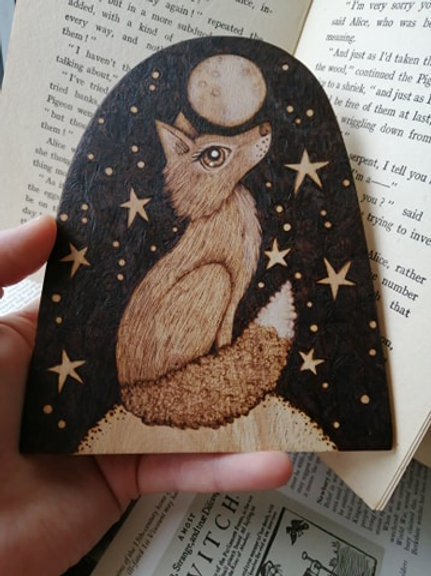 Moon Gazing Fox Against the Night Sky Pyrography Wood Burning Original