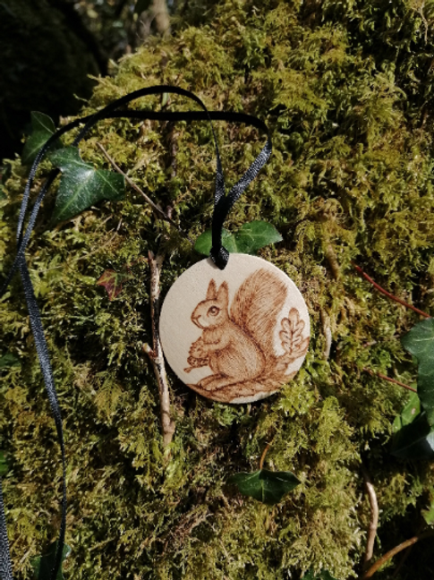 Wooden Squirrel Necklace Pyrography Wood Burning