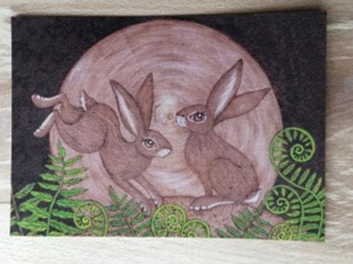 Hares in the Ferns , Postcard Taken From an Original Wood Burning Design....