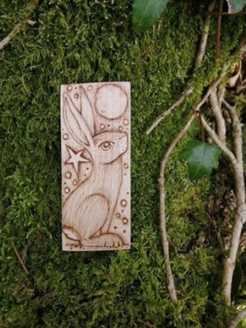 Hare, Moon and Stars Original Design Fridge Magnet Wood Burning Pyrography