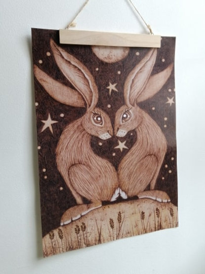 A3 Size Full Edge Print Love Heart Hares