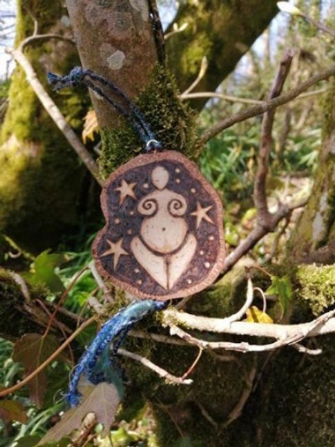 Goddess against a night sky original wood burning pyrography