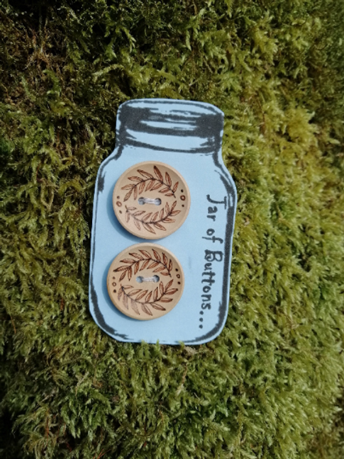 2 Wooden Fern Leaf Buttons..