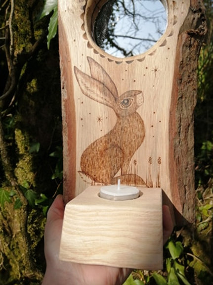 Tea Light Holder Mirror with a Hare Wood Burning Pyrography