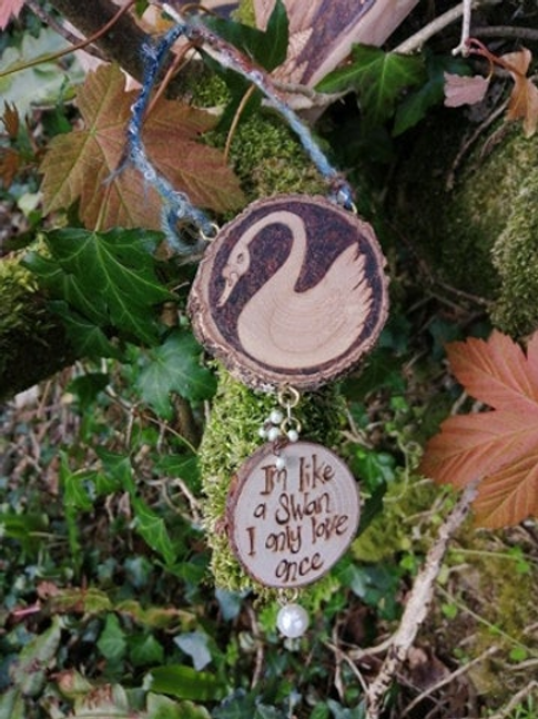 "Swan "" I'm like a swan I only love once"" original wood burning pyrography"