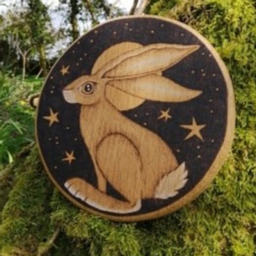The Moon Hare Wood Burning Pyrography Original