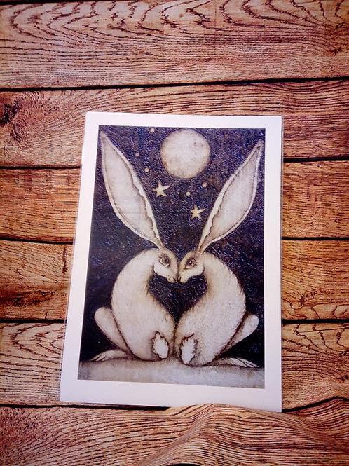 Love Heart Hares A3 Print