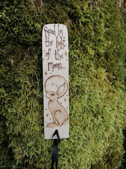 "Wooden Hare Bookmark with ""Read by the light of the moon"" Pyrography Woodburning"