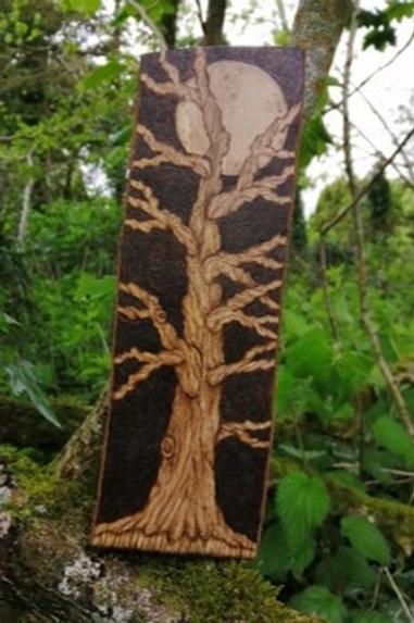 Tree Beneath The Moonlight Pyrography Wood Burning Original Design