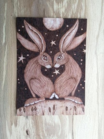 Love Heart Hares , Postcard Taken From an Original Wood Burning Design....