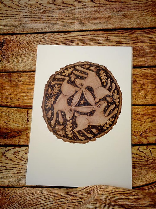 Tripple Hare A3 Print