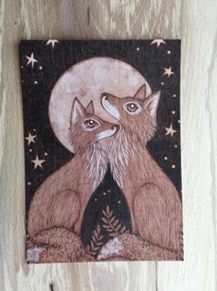 Foxes in Ferns , Postcard Taken From an Original Wood Burning Design....