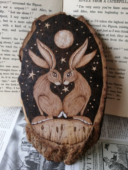 Love Heart Hares Against the Night Sky Beneath the Full Moon Pyrography Wood Bur