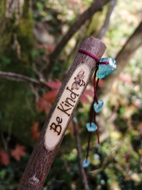 """Cute """"Be Kind"""" Intention Stick Wood Burning Pyrography"""