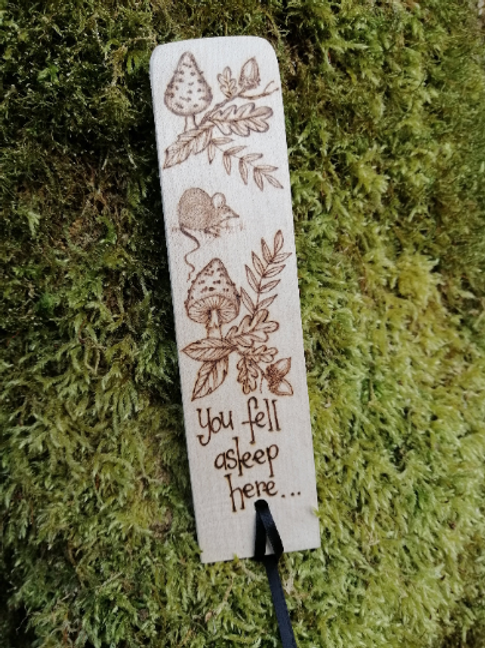 "Wooden Mouse Bookmark with Toadstools Acorn Oak Leaves and the words ""You fell a"
