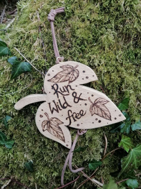 Wooden Leaf Run Wild and Free  Pyrography Wood Burning