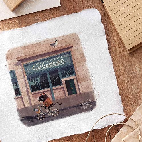 "Gandolfi Cat 8x8"" print"